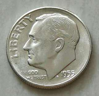 USA 1955S 10 Cents Unc Silver Coin With Luster