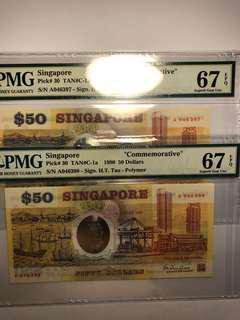 1 pair of Singapore Polymer Commemorative $50 running number PMG 67 EPQ