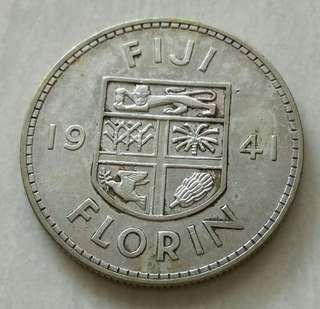 Fiji 1941 Florin AU Silver Coin (Lion face details good)Mintage only 20000