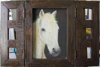 White Beauty Horse Uniquely framed Painting