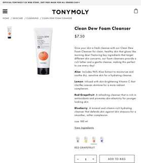 Tony Moly grapefruit foam cleanser