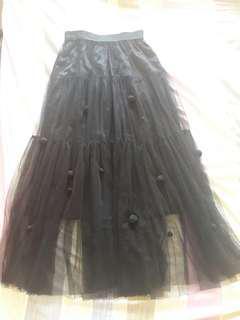 Mesh long skirt