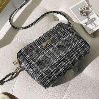 Korean Black Plaid Sling Bag