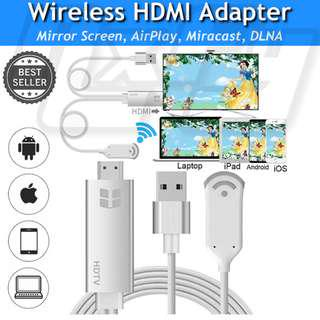 Wireless HDMI Adapter WiFi Video Dongle 1080P Mirascreen HDTV Media Wireless Display Adapter, Support DLNA & Miracast & Aircast Mirroring Screen for iphone ipad IOS/iPad/Mac/Android/Windows 7571