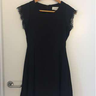Black Mid Length Dress with Lace Sleeve Detail
