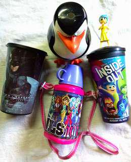 Drinking Cups and  Monster High Water Bottle (4pcs TakeAll)