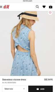 H&M Divided Open Back Blue Flowery Dress