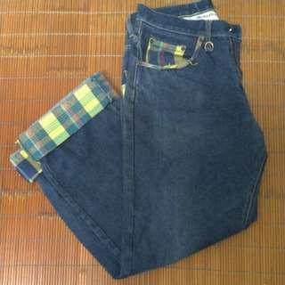 🚚 ⚠️古著⚠️重磅厚挺寬管牛仔褲 反折格紋褲管 32腰