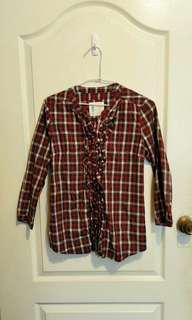 a la sha紅色格子襯衫