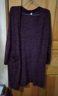 🚚 紫色 深紫 針織 口袋 外套