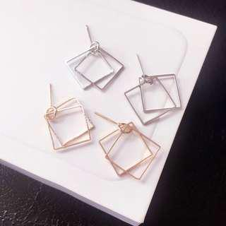 geometry double square earring #under9