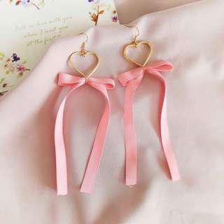 pink heart ribbon earrings #under9