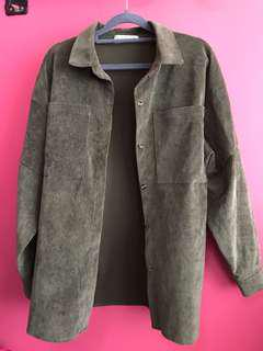 Olive green Suede Outerwear / Shirt