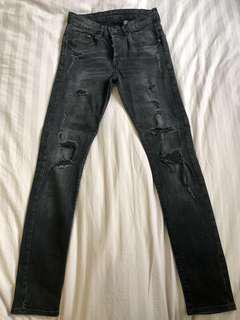 H&M skinny ripped distressed jeans