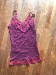 Abercrombie and Fitch A&F Maroon lace spaghetti top