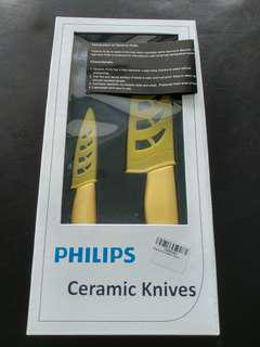 [BNIB] Philips 2Pcs Ceramic Knives with Covers