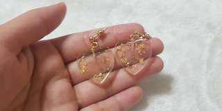 Kr Gold Flake Clear Heart Earrings