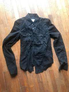 Armani Exchange AX black long sleeved shirt with pockets and buttons