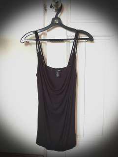 H&M Black Scoop Neck Spag blouse