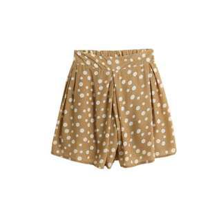 水玉點點紗質褲裙 奶茶色