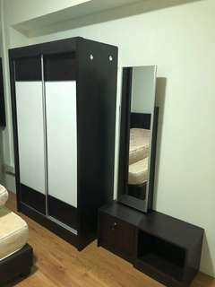 Cupboard set with queen size bed frame & mattress