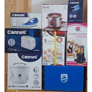 BUNDLE DEAL - Brand New Cornell 1.8L Rice Cooker / Cornell Pop Up Toaster / Cornell Steam Iron / Cornell Traveller Hair Dryer / Philips Bread Container / Iona 1L Purple Clay Auto Slow Cooker / Blitz Rainbow Kitchen Utensil Set / FNG Ibiza 7 pcs Drink Set