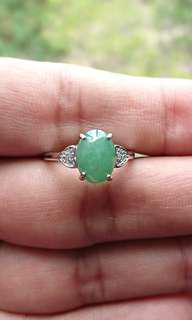 Jadeite Cabochon on 925 Silver Ring. 缅甸玉翡翠925银女戒。