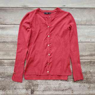 Mango Basics Golden Button Down Knit Cardigan (Crimson)