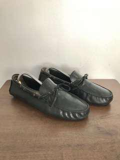 Hush Puppies Drivers Loafers Black Leather Shoes