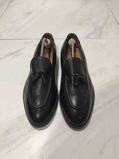 Vintage Saint Niord Black Formal Leather Shoes Tassel Loafers