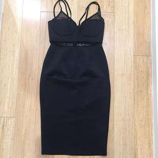 Black Asos Midi Bodycon Dress Sz 10