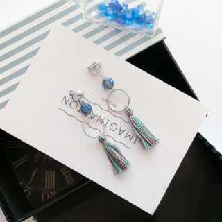 Blue Tassels Clip On Dangling Earrings