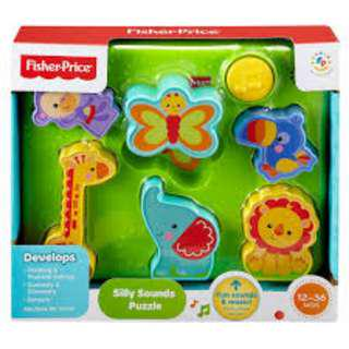 New Fisher Price Rainforest Animals Silly Sounds Puzzle Music Toddler Play Brain Toy