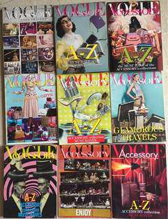 9xIssues of Vogue Accessory, Italian Magazines, 2011-2014 (good to new condition) + 2x Vogue Gioiello