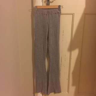 MISSGUIDED RIBBED GRAY PANTS