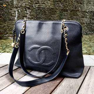 Authentic Chanel Caviar Jumbo Tote with 24k Gold Hardware