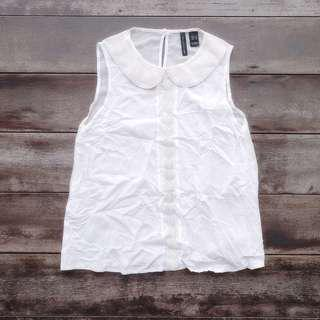 Mango Collection Crochet Peterpan Sleeveless Top (White) | Made in Turkey