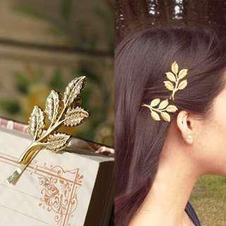 (FREE POS) Gold Leaf and Branch Bridal Hairpin Korea Hair Clip