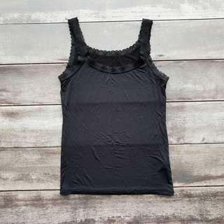 Uniqlo Airism Lace Trim Tank Top (Black)
