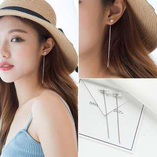 (Free pos) Gold Pearl Korean Earring with Long Chain Elegant #50under