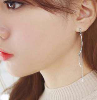 (Free Pos) Silver Long Dangle Elegant Diamond Korean Earring with Swirl / Spiral Detail #50under