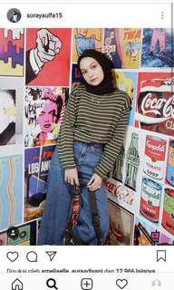 Sweater rajut stripe army