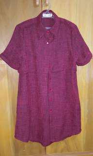 Red loose tweed-like dress