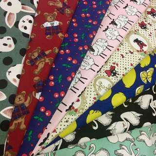Combo promotion 6pcs cotton canvas fabric/kain diy cloth