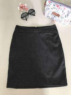 New GG5 Japanese Soft Polka Dots Ribboned waist Black Skirt