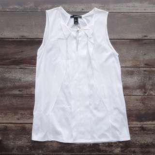 Mango Suit Ruffles Keyhole Front Sleeveless Top (White) | Made in Vietnam