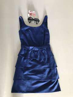 All things lovely Navy Blue Satin Suede Like A Cupcake Tiered Ribbon Dress