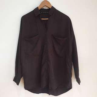 Zara oversized silky feel flowy dark gray polo