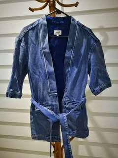 SEED Japanese Style Cardigan Indigo Thick Woven