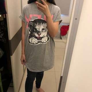 🚚 正韓 灰色貓咪 長版上衣